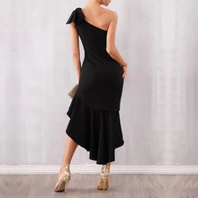 Load image into Gallery viewer, Sleeveless One Shoulder  Ruffles Asymmetrical Dress