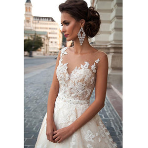 Sheer Illusion Beige Wedding Dresses Lace Applique and beading