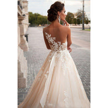 Load image into Gallery viewer, Sheer Illusion Beige Wedding Dresses Lace Applique and beading