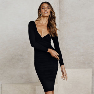 V Neck Long Sleeve Sexy Classic Black Dress