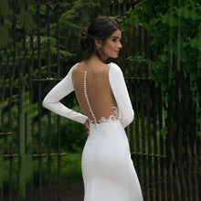 Load image into Gallery viewer, V Neck Floor Length Long Sleeve Mermaid Wedding Dress