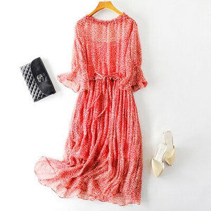 100% Pure Silk Ruffled Sleeve Dress..