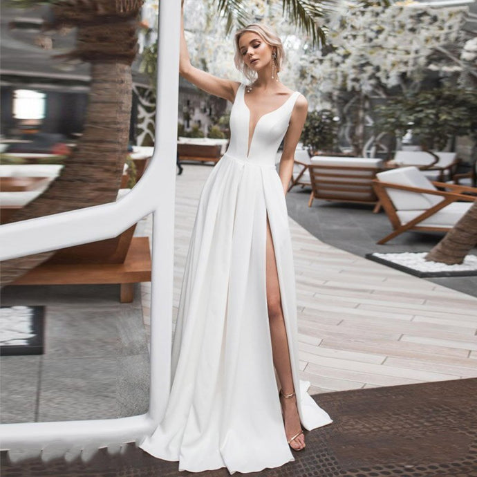 Elegant Deep V Neck Side Slit Wedding Gown