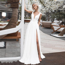 Load image into Gallery viewer, Elegant Deep V Neck Side Slit Wedding Gown