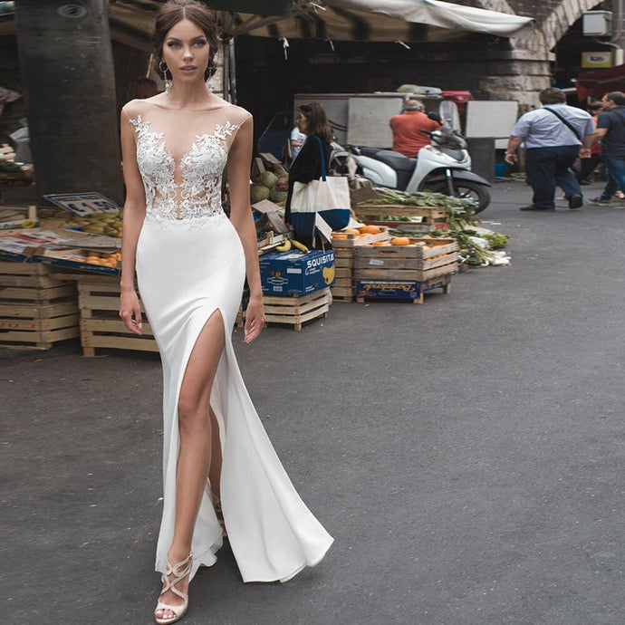 Navarra Mermaid Wedding Dress Sexy                       Side Slit