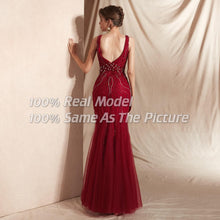 Load image into Gallery viewer, Crimson Beaded Holiday Gown
