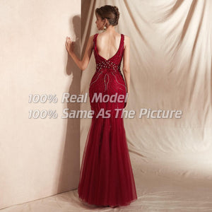 Crimson Beaded Holiday Gown