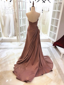 Navarra Draped Couture Satin Evening Gown.
