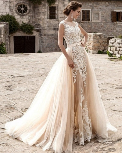 Champagne Detachable Train Mermaid Wedding Dress