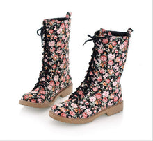 Load image into Gallery viewer, Floral Flat Heel Women's Boots Large          Size 34-44 Lace-up