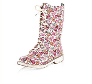 Floral Flat Heel Women's Boots Large          Size 34-44 Lace-up