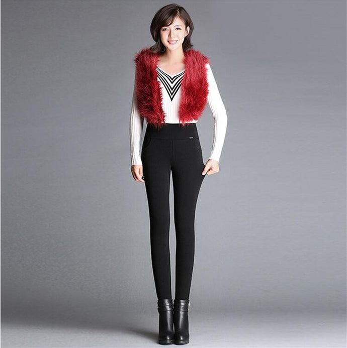 Skinny  Fleece Lined High Waist Elastic Wide Waist Pant