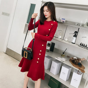 Sophisticated Long Sleeve Trumpet Knit Dress