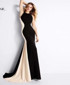Best Slimming Color Blocked  Evening Gown.