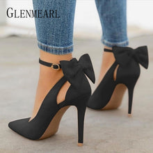 Load image into Gallery viewer, Suede Pumps -Bow Back High Heels..