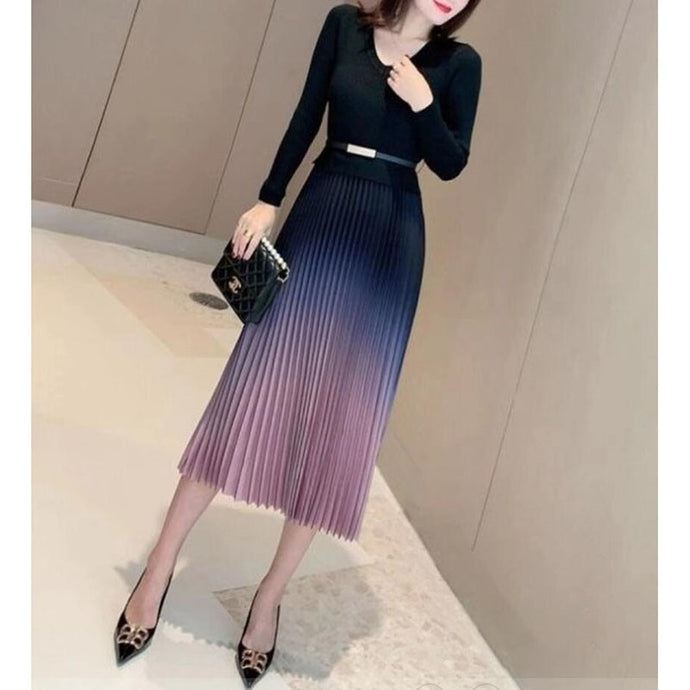 High Quality V-Neck Long Sleeve Knit and Ombre Pleated Skirt