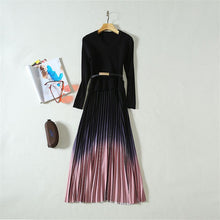 Load image into Gallery viewer, High Quality V-Neck Long Sleeve Knit and Ombre Pleated Skirt