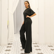 Load image into Gallery viewer, Full length  One Shoulder Over skirted Bodice and Pant Jumpsuit