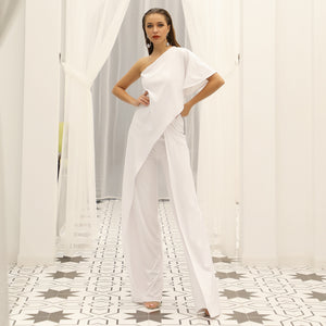 Full length  One Shoulder Over skirted Bodice and Pant Jumpsuit