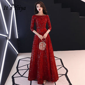 Sequins Shining Jewel-neck Half Sleeve Evening Formal Gown