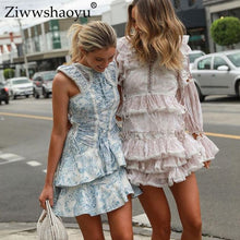 Load image into Gallery viewer, Laced  Mini dresses Jewel-Neck Ruffles Flare Sleeve