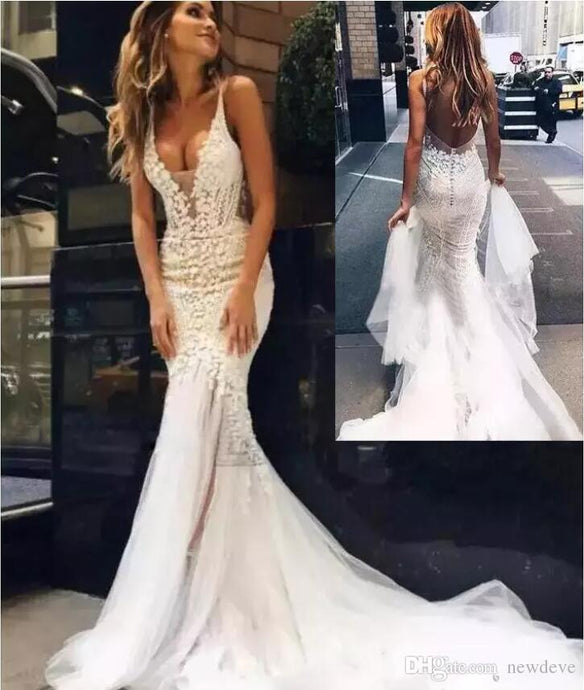 Couture Wedding Dresses Backless Sheer Deep V Neck  Bridal Gown..