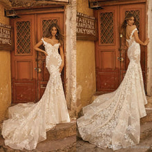 Load image into Gallery viewer, Mermaid Wedding Dresses Couture Off Shoulder Lace Applique Sweep Train