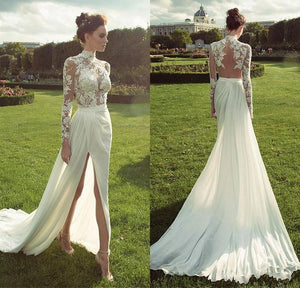 Chiffon Sheath Wedding Dresses  with Lace Appliques High Collar