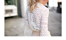 Load image into Gallery viewer, Scalloped Lace Jewel Neck Holiday Blouse...