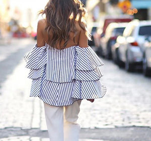 Blue Striped Off Shoulder Ruffle  Ladies Top..