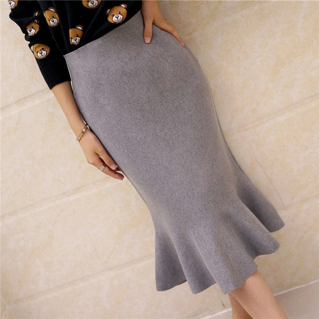 Sophisticated Flounce Hem  Sweater  Skirt