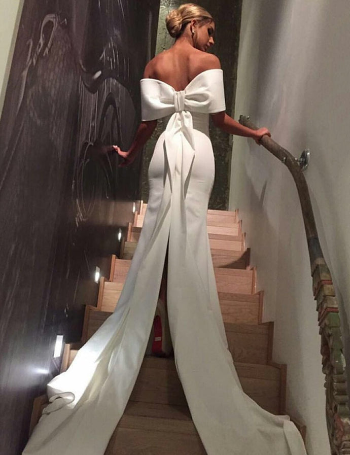 Couture Bow Back Strapless Split Train Gown
