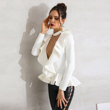 Load image into Gallery viewer, Ruffled Deep V Neck Peplum Blouse