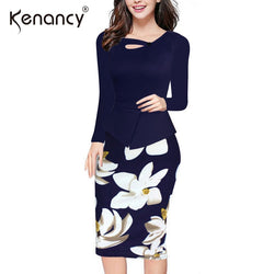 Kenancy 5XL Plus Size 6 Colors Floral Print Patchwork Office Max Dress Best Shape Wears, Hair Removers, Leggings & Intimate