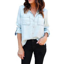 Women's Denim Long Sleeve Shirt Cotton Best Shape Wears, Hair Removers, Leggings & Intimate