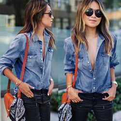 Casual Blue Jean Denim Long Sleeve Shirt Best Shape Wears, Hair Removers, Leggings & Intimate