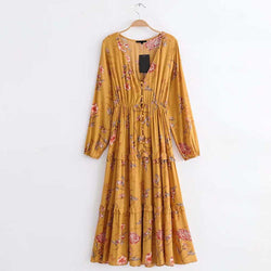 Vintage Ethnic Yellow Floral Print Elastic Waist Best Shape Wears, Hair Removers, Leggings & Intimate