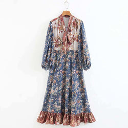 Vintage Ethnic Floral Print Tied Bow Collar Max Swing Long Pleated Dress Best Shape Wears, Hair Removers, Leggings & Intimate