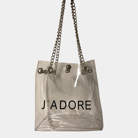 J'adore Black Clear Chain Bag
