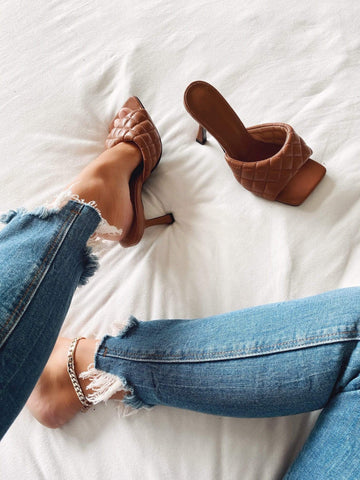 Brown Quilted Mules Heels