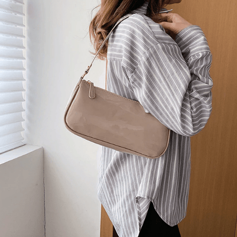Beige Retro Baguette Bag