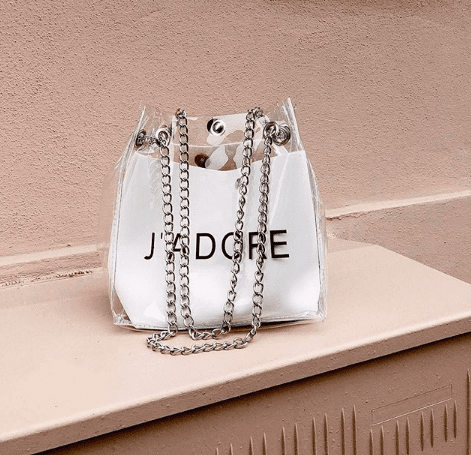 J'Adore White Clear Chain Bag