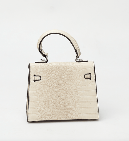 Rachel Cream Croc Crossbody Bag