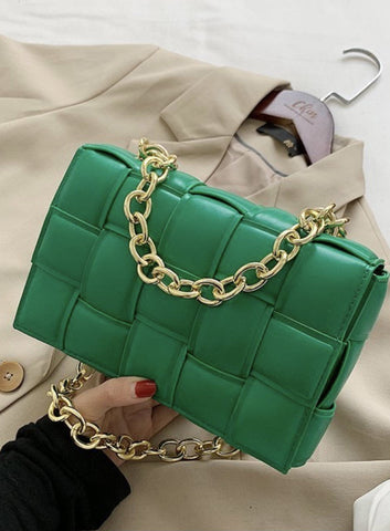 Knitted Green Gold Chain Bag