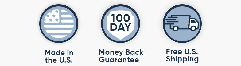 Made in the US, 100 Day Money Back Guarantee, Free Shipping.