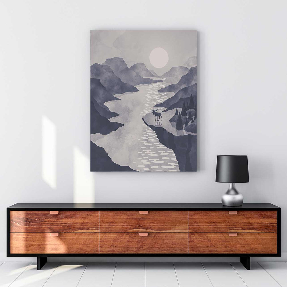 Moose & Mountain Range - Canvas Print by K Graphic House | Art Bloom Canvas Art
