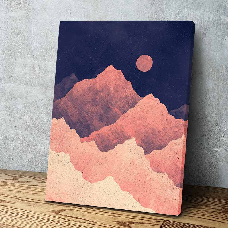 Red Night Mountainscape Canvas Art by K Graphic House | Art Bloom