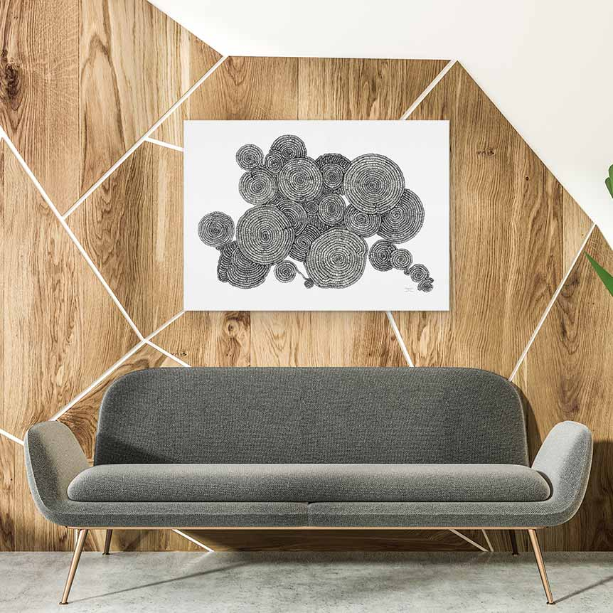 Art Bloom Tree Rings Canvas Print- By Jacque Coyne-
