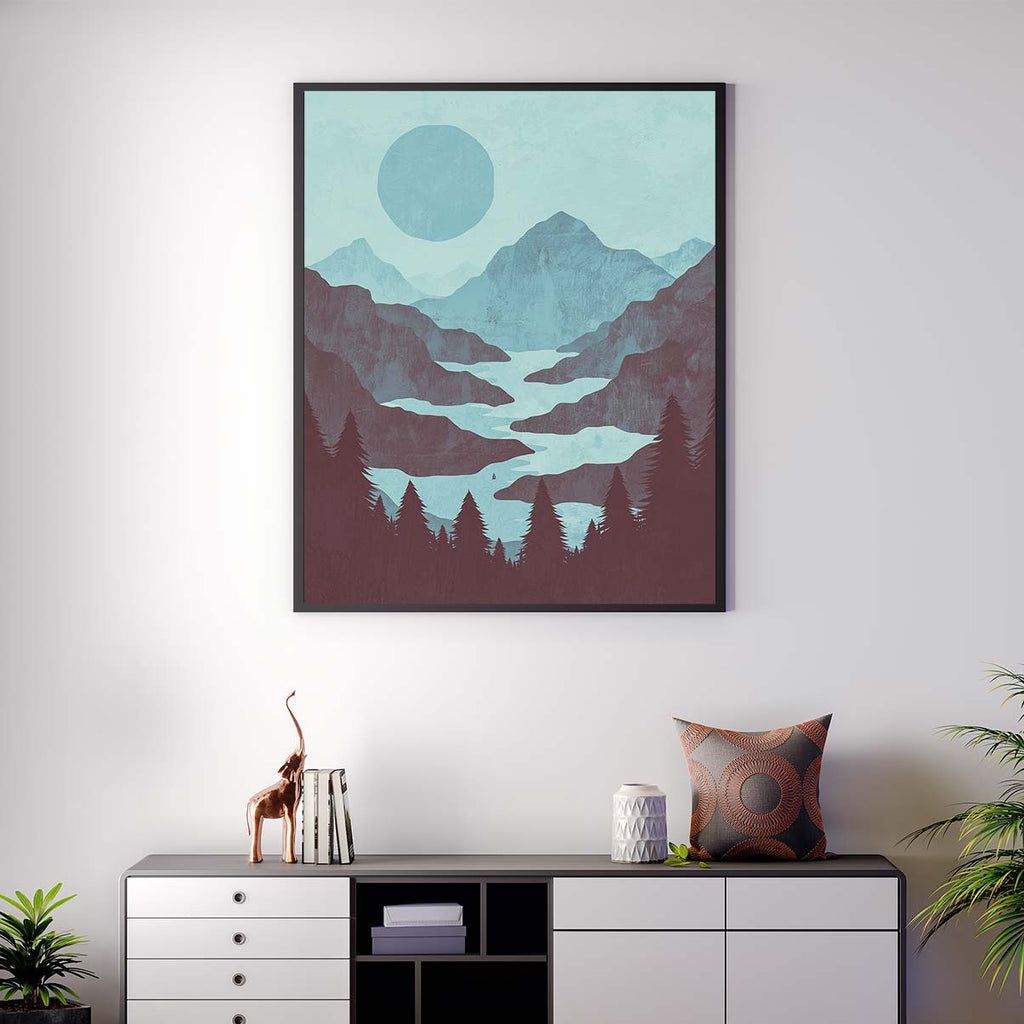 Winding River Mountain - Canvas Print by K Graphic House | Art Bloom Canvas Art