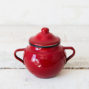 Red Enamel Sugar Bowl